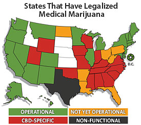 States that have legalized cannabis.