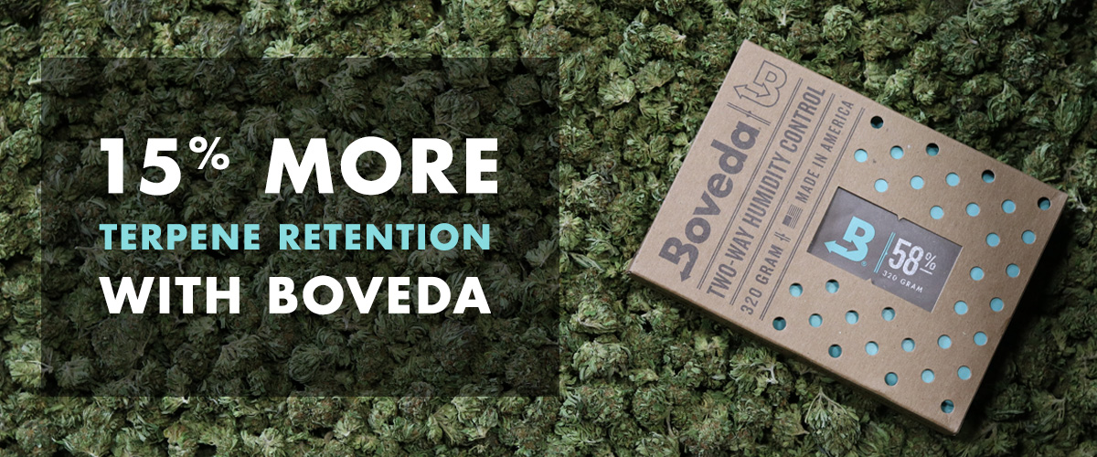 #savetheterps Photo showing post-cure cannabis stored with Boveda Size 320 for up to 5 pounds of flower. Enjoy 15% more terpenes when you store cannabis with Boveda, the original terpene shield.