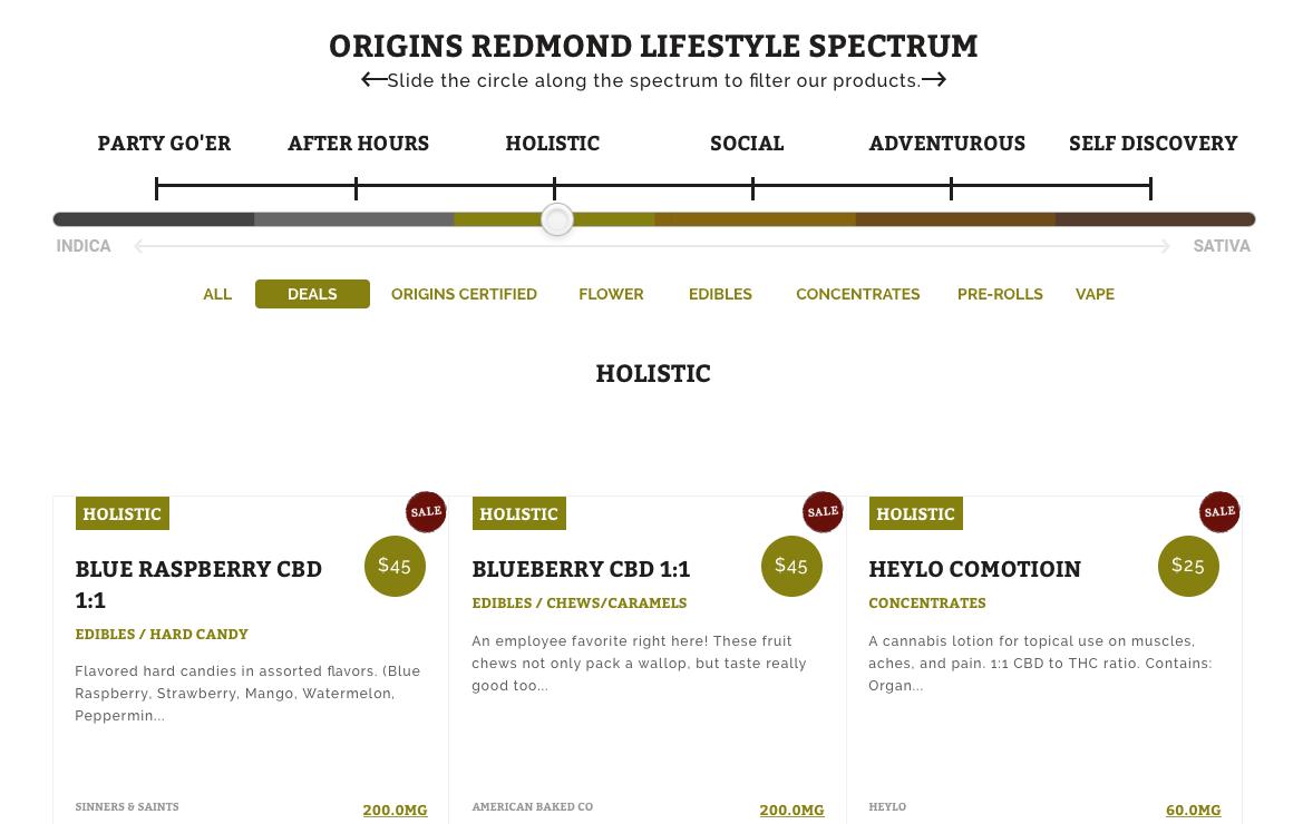 Origin's Cannabis Menu
