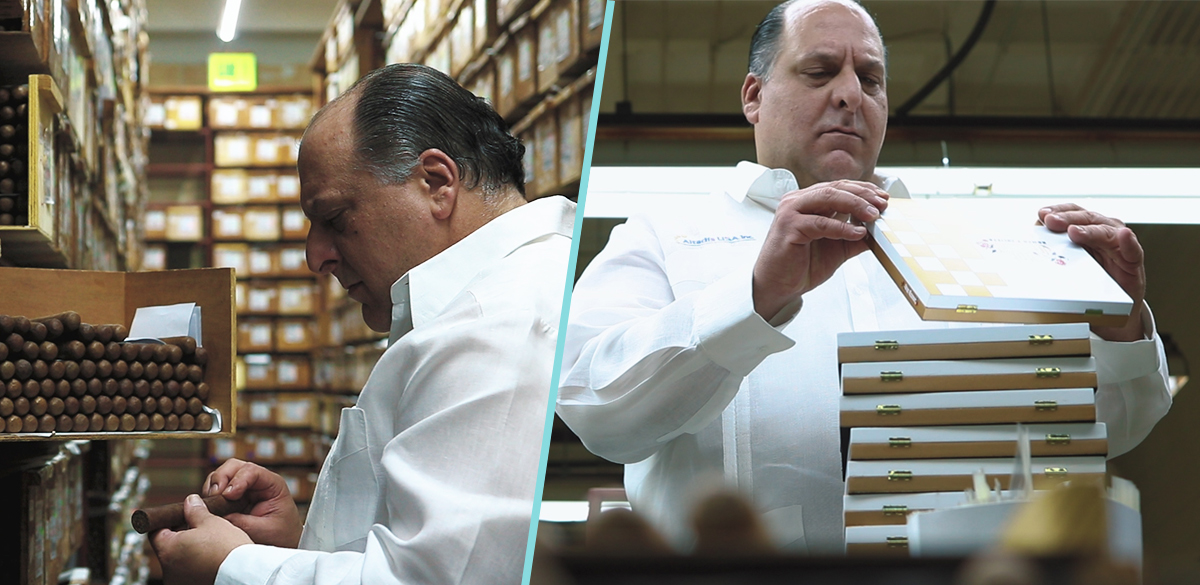 Javier Inspecting the cigars and box.