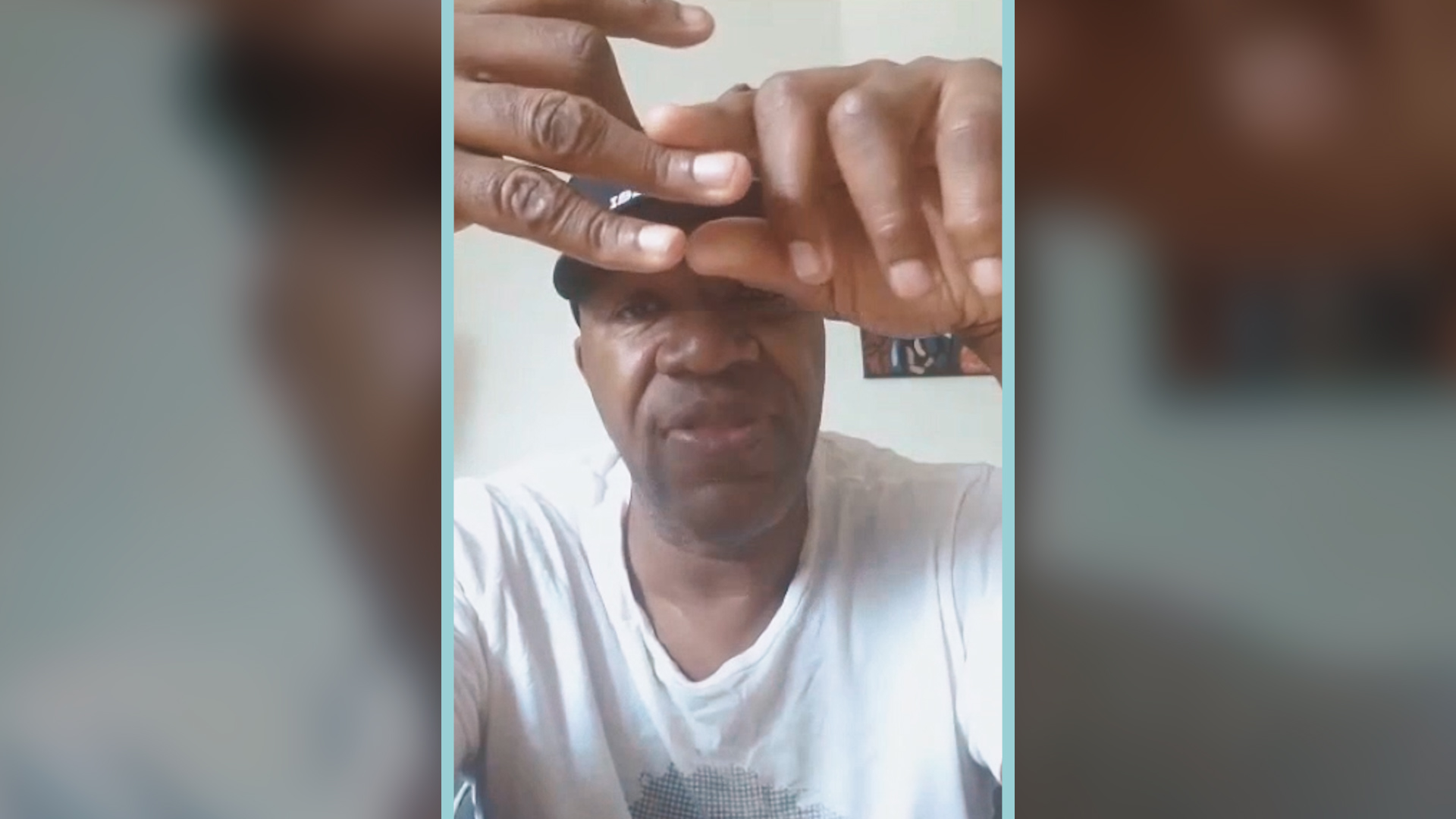 Marvin Washington explaining his finger injuries.
