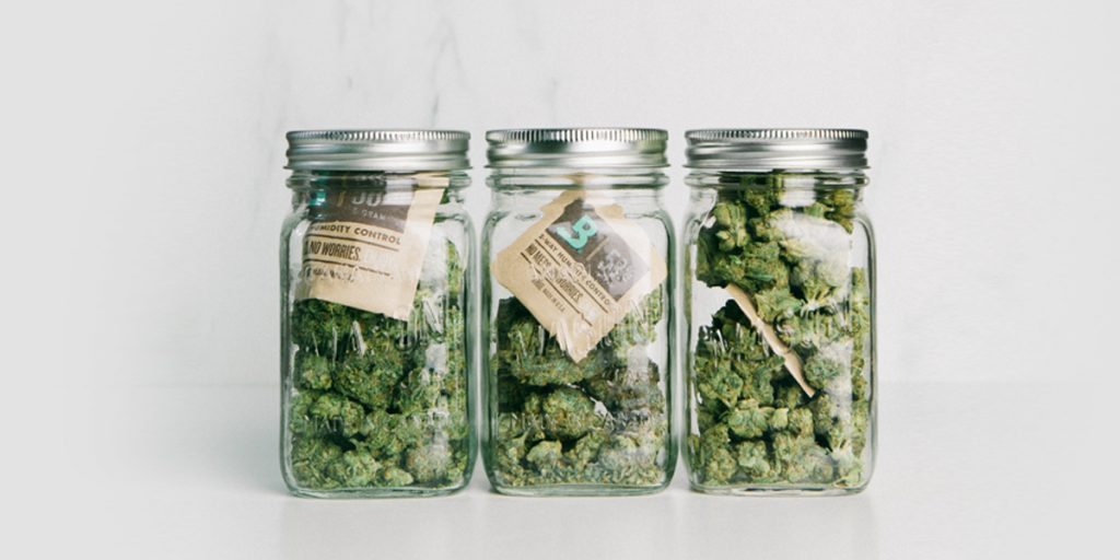 Jars of Cannabis with Boveda