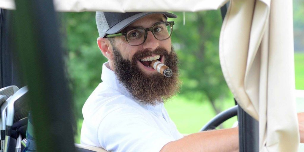 Host of the  Box Press Podcast, Rob Gagner protects cigars in a Boveda Humidor Bag in his golf bag