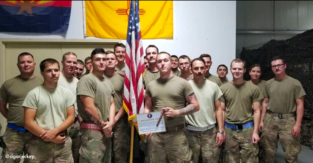 Deployed service members, like these recipients of the 1 millionth cigar, request premium cigars from the OP: CFW website. After the non-profit group verifies that the APO address meets the criteria as a deployment or float, OP: CFW fulfills requests on a first-come, first-served basis.