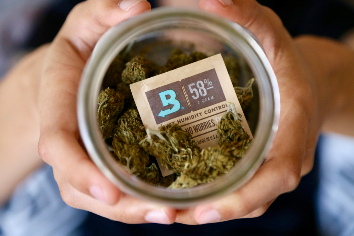 Boveda in a jar with cannabis flower. In just 3 days, Boveda can bring the air inside a cannabis container or package up to the right RH. Boveda's goal is to make your flower's RH level equal its own— 58% or 62% RH