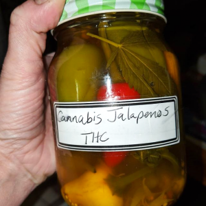 Illustration of a jar of pickled THC Jalapeno Peppers from the kitchen of home grow cultivator/Boveda blogger, Dianna Donnelly.