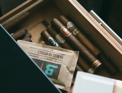 Boveda and cigars in humidor