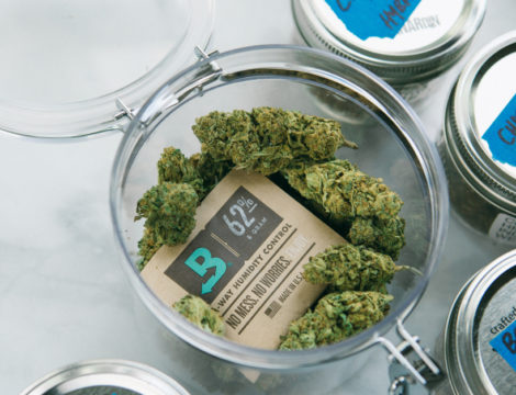 Cannabis flower in a container protected by Boveda.