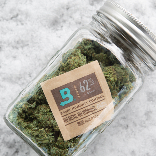 Jar of cannabis with boveda inside