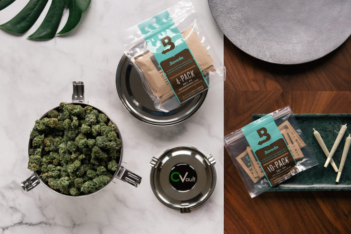 Boveda home grow kit in use with cannabis flower and pre rolls.