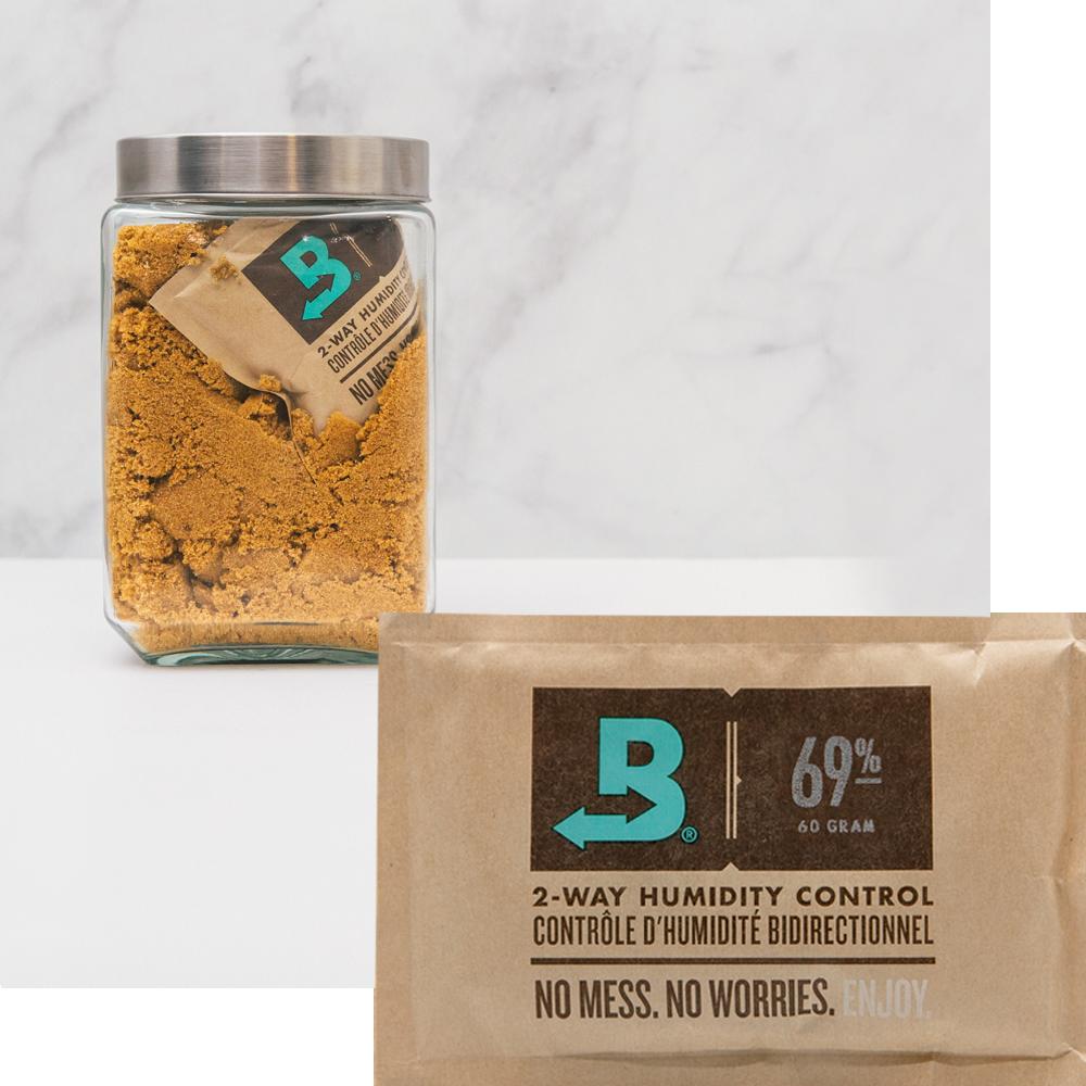 Boveda 69% RH and jar of brown sugar.
