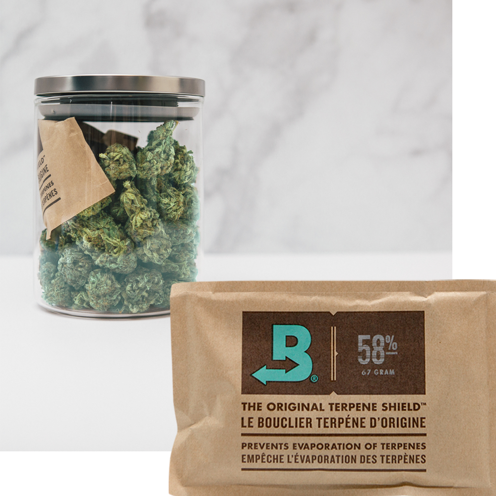 Boveda size 67 and a jar of flower protected by Boveda.