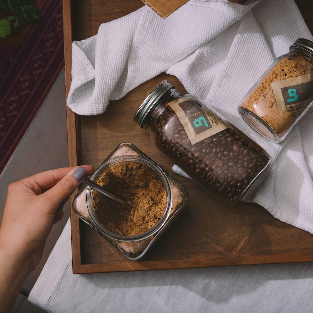 Brown Sugar and Coffee in jars with Boveda packs