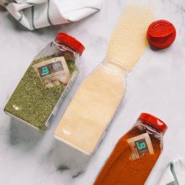 Spice jars with Boveda packs in them