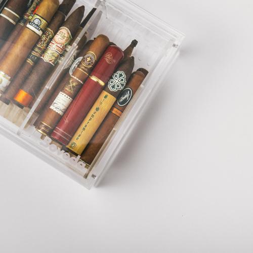Cigars in an acrylic humidor