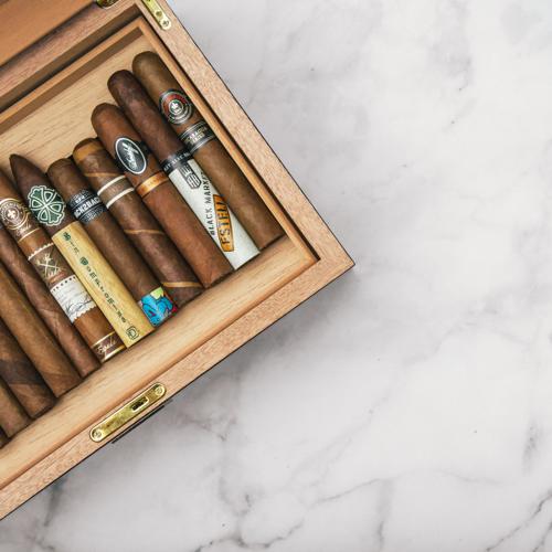 Cigars in a wood humidor