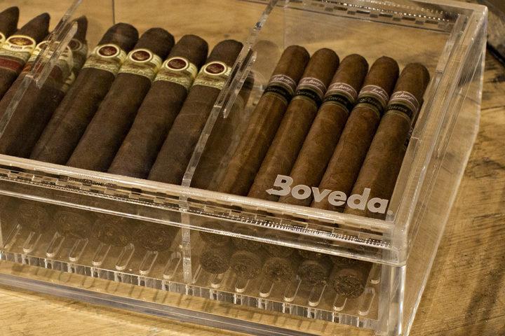 Cigars in an Boveda acrylic humidor