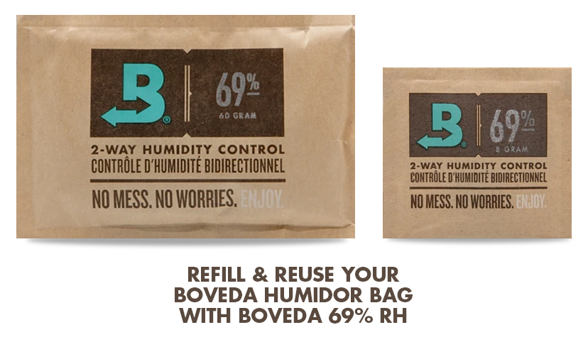 To refill Boveda Humidor Bags: Use Boveda 69% RH (Size 60 for large and medium Boveda Humidor Bags or Size 8 for small Boveda Humidor Bag