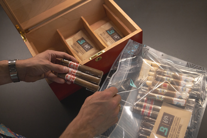 Large Boveda Humidor Bag holds up to 80 cigars