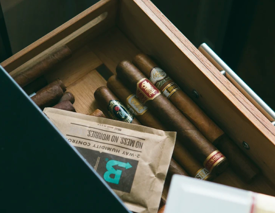 Boveda pack and cigars in a humidor